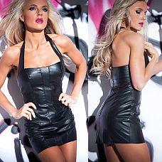 Черное клубное платье из кожи  Откровенное короткое платье с глубоким декольте с отличной посадкой по фигуре.