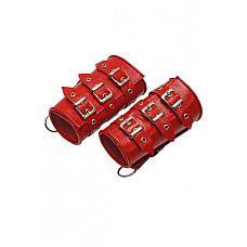 Манжеты красные  Изготавливаются из натуральной кожи с велюровой подкладкой.