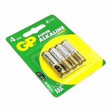 Батарейки AAA GP LR03 4 шт  Мизинчиковые батарейки типа ААА GP, алкалиновые.