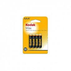 Батарейки AAA Kodak Max LR03 4 шт  Мизинчиковые батарейки типа ААА Kodak, алкалиновые.
