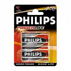 Батарейки C Philips Powerlife LR14 2 шт  Батарейка-бочонок типа С Philips, алкалиновые.