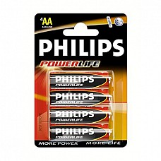 Батарейки AA Philips LR6 4 шт  Пальчиковые батарейки типа АА Philips алкалиновые.