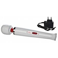 Hitachi Magic Wand Аккумуляторный 2-скоростной Белый  Версия массажера работает как от сети 220 V, так и от встроенной аккумуляторной батареи. Время работы без подзарядки — 1,5-2 часа.