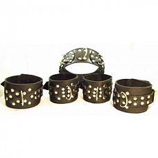 Комплект кожаных БДСМ-аксессуаров с клёпками  Набор аксессуаров, изготовленных из натуральной кожи.