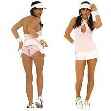 Костюм очаровательной теннисистки  Теннисное платье с длинной бретелью - можно перекрестить бретель на груди, а можно одеть классическим способом.