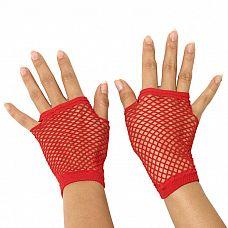 Митенки в мелкую сетку  Короткие перчатки-митенки в мелкую эластичную сеточку с прорезью для пальцев.