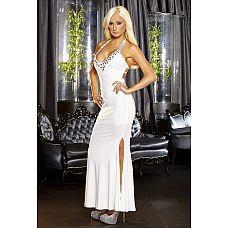 Белое вечернее платье в пол с нарядным декольте  Элегантное вечернее платье белого цвета с широким вырезом, украшенным прозрачными переливающимися камнями с огранкой.