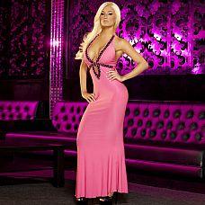Вечернее розовое платье в пол от Hustler  Роскошное вечернее платье розового цвета с эротичным вырезом-капелькой, украшенным черными блестящими камнями с огранкой.