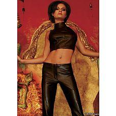 Кожаный топ-американка Dynasty  Качественный черный топ из натуральной кожи черного цвета с проймой.