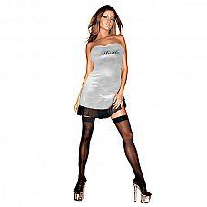 Клубное платье с надписью HUSTLER на груди   Платье без бретелей с надписью на груди HUSTLER с широкой прозрачной рюшей из тонкой эластичной сетки.