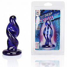 Стеклянная анальная пробка спиральной формы Deep Ocean- 9 см.  Плаг для анальной стимуляции синего цвета, выполненный в форме спирали.