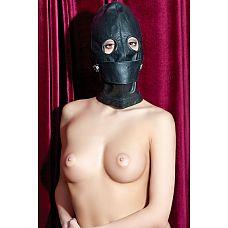 Чёрная кожаная маска с прорезями для глаз  Кожаная маска с открытыми глазами. под кожаным отстегивающимся клапаном спрятан  пластиковый кляп.