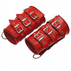 Красные кожаные манжеты  Изготавливаются из натуральной кожи с велюровой подкладкой.