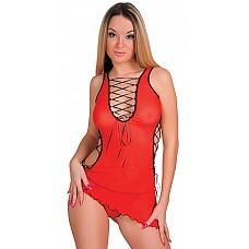 Сексуальное сетевое мини-платье c трусиками (Erolanta 920014)  Сетевой комплект: мини-платье на атласной шнуровке по бокам, спереди и сзади, трусики-стринг.