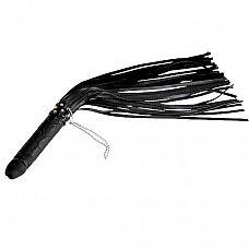 Чёрная плеть  ракета  с рукоятью из латекса и хвостами из кожи - 65 см.  Плеть состоит из рукояти изготовленной из натурального гипоаллергенного латекса, имеющей форму фаллоса и 30 гладких хвостов изготовленных из натуральной кожи.