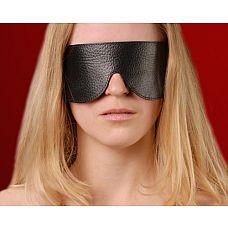 Чёрная кожаная маска на глаза  Изготовлена из натуральной кожи с велюровой подкладкой. Размер универсальный.