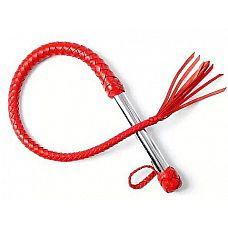 Однохвостая красная плеть с хлопушкой - 70 см.  Однохвостая плеть имеет хромированную ручку и плетеное из мягкой кожи тело с сердечником из силикона.