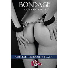Чёрные наручники с кристаллами BONDAGE   Каждая девушка в сексе помимо физического наслаждения желает получать еще и эстетическое, которое подарят роскошные и гламурные секс-игрушки.