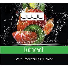 Пробник съедобного лубриканта JUJU с ароматом тропический фруктов - 3 мл.  Благодаря этой смазке с возбуждающим ароматом тропических фруктов вы почувствуете, как в спальне становится жарко № прямо как в тропиках! Съедобный лубрикант с чуть сладковатым вкусом, нанесённый поверх половых органов, превращает последние в настоящие лакомства.