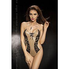 Боди с открытыми боками и леопардовыми вставками Greco  Открытое боди с контрастными вставками, подчеркивающими изящный силуэт.