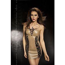 Платье с леопардовыми вставками Greco  Платье с леопардовыми вставками и шнуровкой на груди.