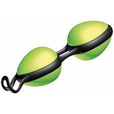 Зелёные вагинальные шарики на чёрной сцепке Joyballs Secret   Вагинальные шарики, выполненные из 100% силикона со смещенным центром тяжести, с эргономичной формой для чувственного перемещения в оба направления.