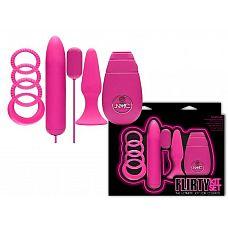 Розовый вибронабор FLIRTY  Розовый вибронабор FLIRTY состоит из анальной пробки, 4 эрекционных колец, виброяичка и вибратора с пультом-контроллером.