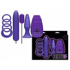 Фиолетовый вибронабор FLIRTY  Фиолетовый  вибронабор FLIRTY состоит из анальной пробки, 4 эрекционных колец, виброяичка и вибратора с пультом-контроллером.