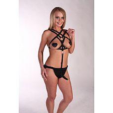 Костюм БДСМ Fetish Night с анальной насадкой длиной 12 см.  Женский костюм БДСМ с анальной насадкой и металлическими кольцами.