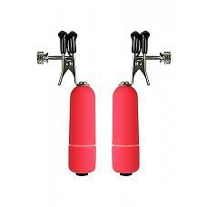 """Клипсы на соски с вибрацией красные SH-OU039RED  """"Описание: клипсы на соски с вибрацией красные SH-OU039RED Особенные клипсы, которые заставят дрожать тело от малейших колебаний."""