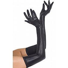 Перчатки с эффектом мокрой ткани  Черные перчатки с эффектом мокрой ткани подойдут к эротическому костюму для создания образа Госпожи.