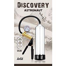 Вакуумная помпа Discovery Astronaut - 23 см.  С вакуумной помпой с манометром Astronaut от Lola Toys эрекция будет тверже и продолжительнее.