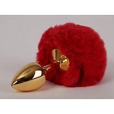 Золотистая анальная пробка c пушистым красным хвостом Задорный Кролик  Анальная пробочка с хвостиком станет идеальным дополнением романтического вечера.