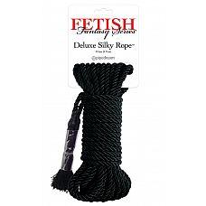 Черная веревка для фиксации Deluxe Silky Rope - 975 см.  Черная веревка для фиксации Deluxe Silky Rope.