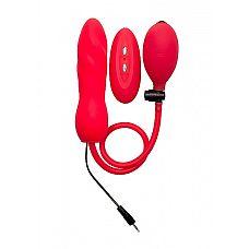 """Расширяющийся анальный виброплаг Red SH-OU117RED  """"Виброплаг может увеличиваться или уменьшаться до такого размера, какой захочет ее обладатель, используя специальную грушу, которая входит в комплект."""