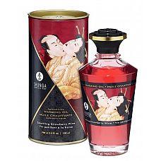Массажное интимное масло с ароматом клубничного вина - 100 мл.  Разогревающее и съедобное масло для тела с натуральными ароматом клубничного вина.