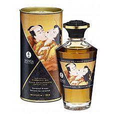 Массажное интимное масло с ароматом карамели - 100 мл.  Разогревающее и съедобное масло для тела с натуральными ароматом карамели.