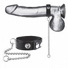 Утяжка на пенис с поводком Snap Cock Ring With 12  Leash  Мужское кольцо на пенис из черной, качественной, простроченной эко-кожи.