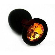 Чёрная анальная втулка с оранжевым кристаллом - 7,3 см.  Гладенькая силиконовая пробка с кристаллом в ограничительном основании.