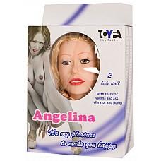 """Надувная кукла Ангелина (ToyFa 118027)  Стоячая светлокожая блондинка. Муляж головы жесткий с длинными густыми волосами. Глаза карие с нарисованными ресницами. Есть нос и уши. Рот из силикона с имитацией зубов. Губы и зубы из силикона.  Вибратор включается и выключается посредством выносного пульта управления. Тело куклы, грудь с сосками сделано из цельнокроеного латекса  без швов. Ладони рук  имеют имитацию пальчиков. В комплект входит вагина из материала """"Живое тело"""", которая вставляется в вагинальное отверстие куклы.К кукле прилагается дополнительный вибратор с выносным пультом управления для использования во время вагинального или анального контактов. Имеется возможность надувания куклы с помощью насоса."""