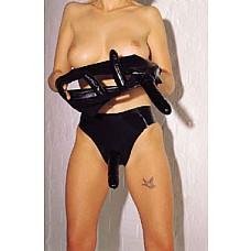 Латексные женские трусики с внешним фаллосом и двумя внутренними стимуляторами. Triple Thrillers.  Трусы женские с фаллоимитатором и двумя внутренними имитаторами от GOPALDAS из чёрного латекса.