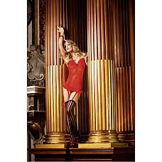 Devil Мини-платье OS (42-46), красный  Очень милое маленькое платье красного цвета из тончайшего материала в сетку, привлекающее внимание благодаря тому, что передняя сторона выполнена из материала в крапинку.