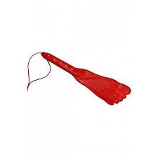 Хлопалка-нога красная  Девайс в виде кожаной пластины в форме ступни с жёсткой рукоятью.