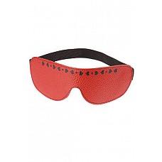 Маска, украшенная сердечками, красная  Изготовлена из натуральной кожи с велюровой подкладкой.