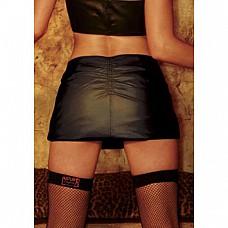 Юбка из кожи со сборкой на попке HU16305-L  Короткая юбочка из мягкой кожи черного цвета с посадкой на бедрах.