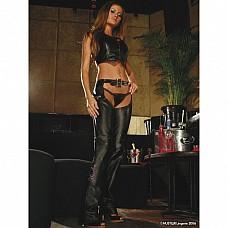 Ковбойские брюки из натуральной кожи HU18286-BKL  Сексуальные ковбойские штанишки из натуральной кожи черного цвета с открытой зоной бикини и попкой.