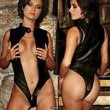 Черное кожаное боди HU43295-BKS  Шикарное черное боди из мягкой кожи, приятно прилегает к телу.
