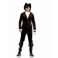 Костюм пирата, M/L,   В комплект входят: бархатный пиджак, рубашка, крюк, повязка на глаз, головной убор и верхняя кожаная часть на ботинки.