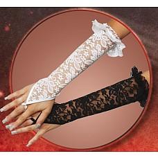 Длинные кружевные перчатки на пальчик  Даже удивительно, насколько сильно такие перчаточки могут изменить ваш образ. <br><br> Дополните ими любой эротический комплект, и он заиграет новыми красками! <br><br> Кружева и цветы на них приумножают вашу нежность, рюшечки по краю -  кокетство, а петелька на пальчике – грациозность.