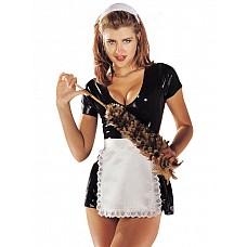 Платье горничной, M  Сексуальное платье горничной из черного латекса.